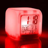 Цифровые светодиодные часы с ЖК-дисплеем и будильником, с изменяющимися цветами, для снятия стресса
