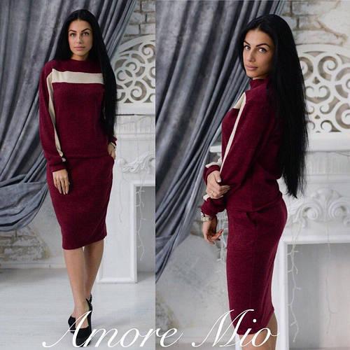 407e5c4a89d2 Костюм женский теплый модный свитшот и юбка карандаш ангора 3 расцветки  KL587