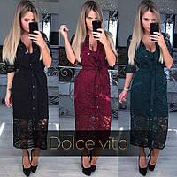 Платье женское Ткань -Дайвинг и гипюр  Цвета -Бардо чёрный Бутылка лкар № 57833