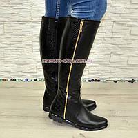 Замшевые женские сапоги демисезонные черного цвета, фото 1
