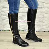 Замшеві жіночі демісезонні чоботи чорного кольору, фото 2