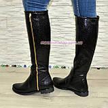 Замшеві жіночі демісезонні чоботи чорного кольору, фото 3