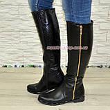 Замшеві жіночі демісезонні чоботи чорного кольору, фото 4