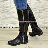 Замшеві жіночі демісезонні чоботи чорного кольору, фото 5
