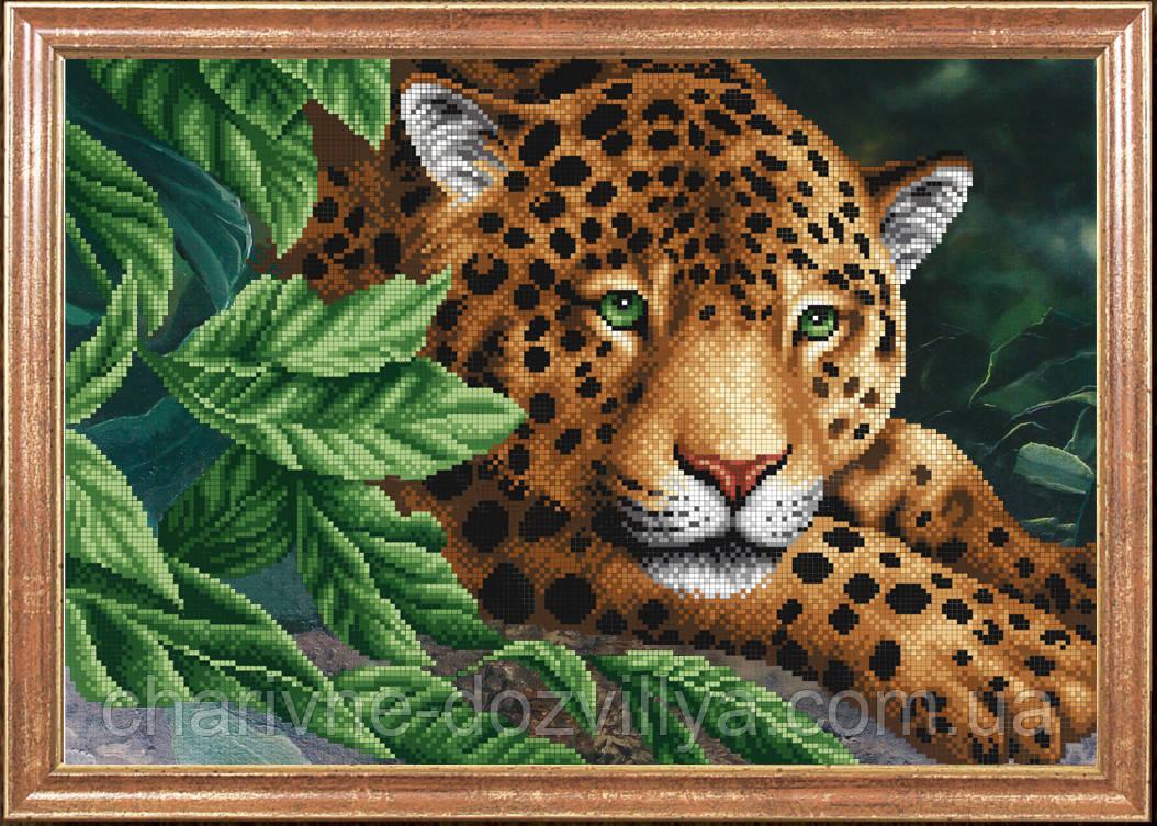 """Схема для вышивки бисером """"Леопард на отдыхе"""""""