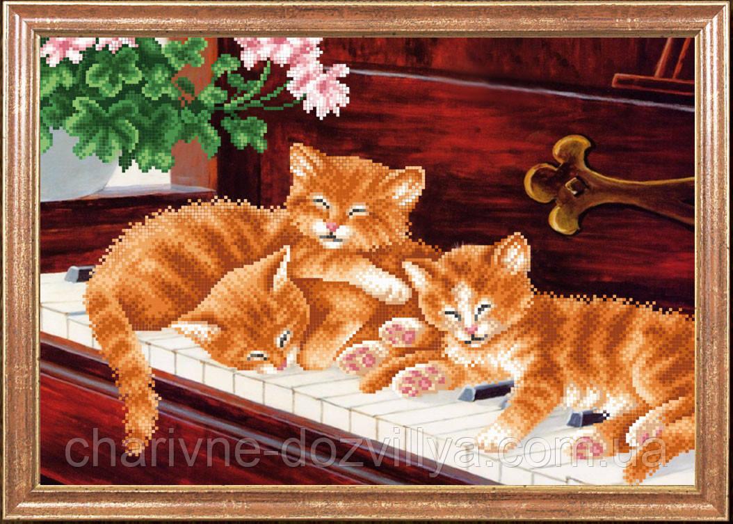 """Схема для вышивки бисером """"Котята на пианино"""""""