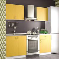 Кухонный гарнитур модульный 1,4 метра из 4 модулей желтая (кухонный комплект мебели)