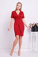 Женское нарядное бордовое платье футляр с оригинальной юбкой, короткий рукав Аурика к/р