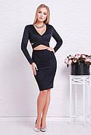 Ультрамодное женское нарядное облегающее платье под замш с декольте и вырезом на талии,черное Эмилия д/р