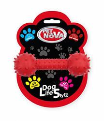 Іграшка для собак Гантель зі звуком Pet Nova 14 см червоний