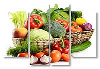 Модульная картина корзины с овощами