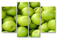 Модульная картина зеленые яблоки 3д