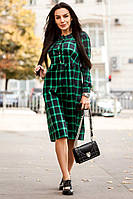 """Платье теплое модное миди в клетку """"Парижанка"""" тиар три расцветки SMdi1852"""