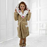 ЖІночий махровий халат з тапочками в комплекті.Р-ри 44-48