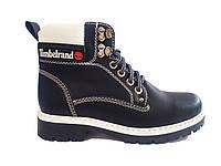 Зимние ботинки женские в стиле Тимберленд черные с белым