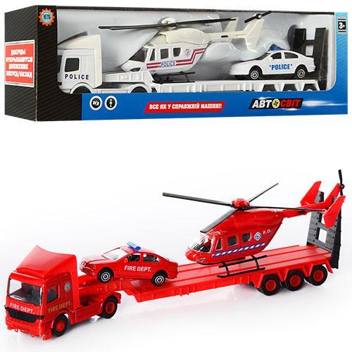 Трейлер 877FPTHC  жел,26см,вертолет14см,машинка7,5см,2вида,в кор-ке, 31-9-5см