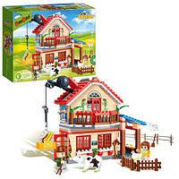 Конструктор BANBAO 8581  загородный дом, фигурки, животные, 315дет, в кор-ке, 33-24-7см