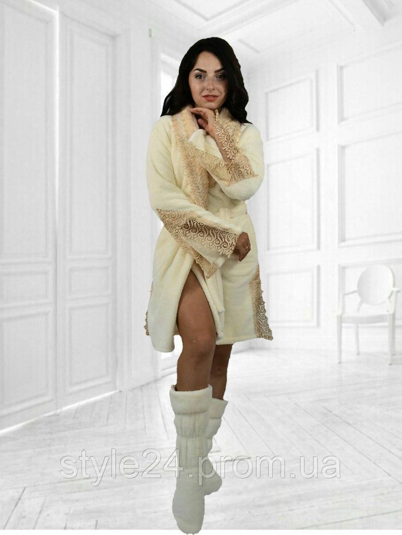 Шикарний набір:махровий халат з кружевом та тапочки.Р-ри 42-48