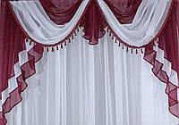 Ламбрекен c бахромой  2м. №3852 Бордовый с белым 028л, фото 1