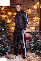 Зимний,теплый мужской спортивный костюм  на синтепоне цвет черный-лак р-46,48, 50, 52, 54, 56
