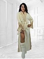 Шикарний набір:довгий махровий халат з кружевом і тапочки-сапожки.Р-ри 42-54