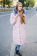 Удлиненное зимнее пальто на синтепоне мех съемный, цвет пудра