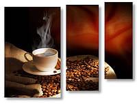 Модульная картина зерна и горячее кофе