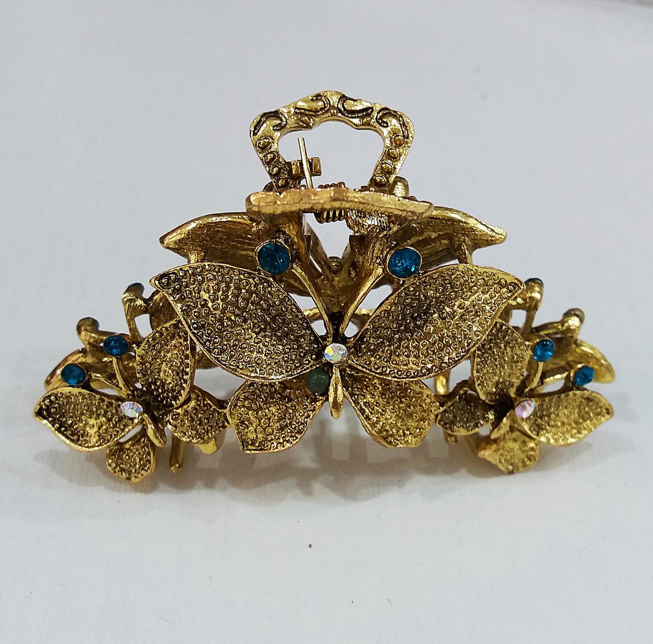 Заколка краб металл большой Три бабочки ассорти
