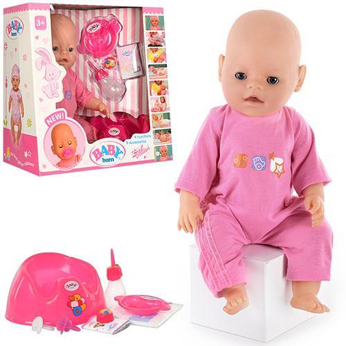Кукла BB 8001-1  9 функций, 10 аксессуаров, пищалка, горшок, 2 соски, разобр, 38-36-17см