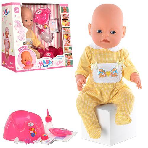 Кукла BB 8001-2  9 функций, 9 аксессуаров, пищалка, горшок, 2 соски, разобр, 38-36-17см