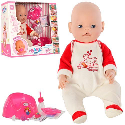 Кукла BB 8001-6  9 функций, 10 аксессуаров, пищалка, горшок, 2 соски,разобр, 38-36-17см
