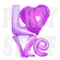Фольгированный шарик Love розовый, 80 см
