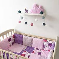 """Комплект в детскую кроватку - подушки """"Цветочный рай"""""""