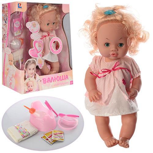 Кукла 30666-23 B  бутылочка, горшок, памперс, тарелка, аксессуары, звук, в кор-ке, 32-39-17см