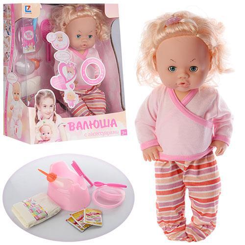 Кукла 30666-5 B  бутылочка, горшок, памперс, тарелка, аксессуары, звук, в кор-ке, 32-39-17см