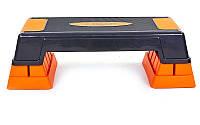 Степ-платформа (пластик, покрытие TPR, р-р 70Lx28Wx22H см, черный), фото 1