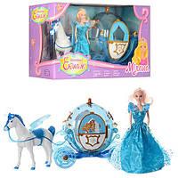 Карета 219A  36см,св,лошадь30см,кукла29см,на бат-ке,в кор-ке,60-20-33см
