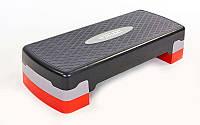 Степ-платформа (пластик, покрытие TPR, р-р 65Lx26Wx10H+5 см, черный)