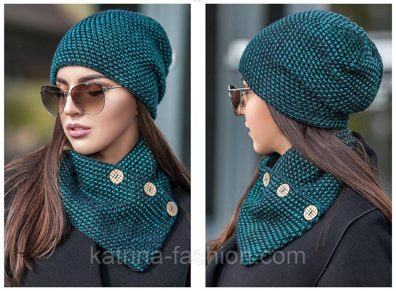 Женский набор: теплая шапка на флисе и хомут-шарф (2 цвета)