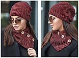 Женский набор: теплая шапка на флисе и хомут-шарф (2 цвета), фото 2