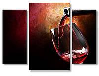 Модульная картина красное вино в бокале