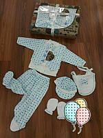 """Набор для новорожденного """"DONINO"""", распашонка, ползуны, чепчик, царапки и слюнявчик."""