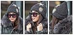 Женский стильная вязаная шапка с нашивками (2 цвета), фото 2