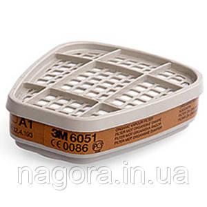 3М 6051 Сменный фильтр  для защиты от органических газов и паров (класс защиты A1), для масок серии 6000