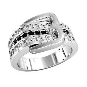 Кольцо  женское серебряное Ремень с пряжкой 211510