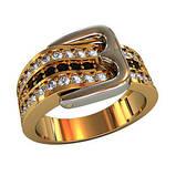 Кольцо  женское серебряное Ремень с пряжкой 211510, фото 2