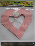 Гирлянда-подвеска растяжка, раскраска Сердечки №8427 3м