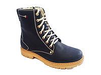 Женские ботинки зимние кожаные на каблуке синие In-Trend 2328