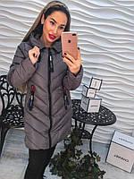 Женское стильное демисезонное пальто  с декоративными бегунками, 3 цвета,р-р 42, 44, 46