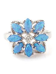 Кольцо серебряное с синим опалом R-202-опс